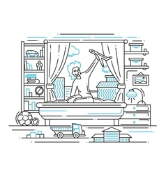 Boy playing in his room - line design vector