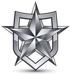 Branded gray geometric symbol stylized silver star vector