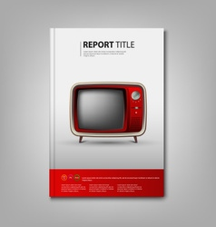 Brochures book or flyer with red retro television vector