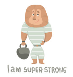 Cute lion strongman holds a weight cartoon hand vector