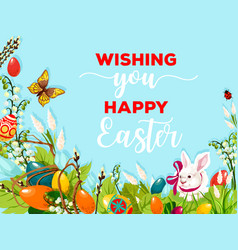 Easter egg hunt rabbit on flower meadow poster vector