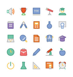 Education flat colored icons 1 vector