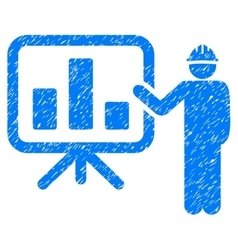Engineer pointing chart board grainy texture icon vector