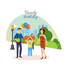 family celebrates birthday city landscape park vector image