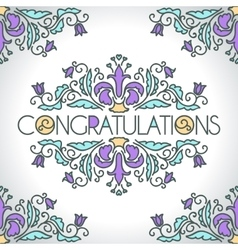 Floral ornament design template Congratulations vector image vector image