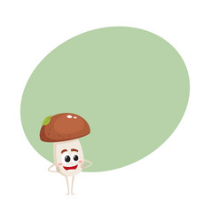 Funny porcini mushroom character with smiling face vector