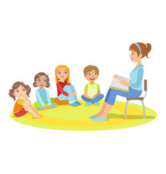 Group of small kids sitting around the teacher vector