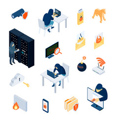 hacker isometric icons set vector image vector image