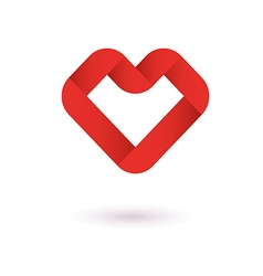Heart ribbon origami logo design template vector