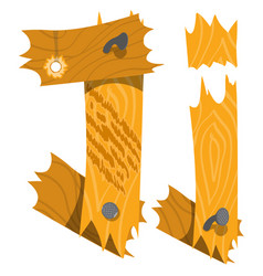 letter j from wooden planks alphabet vector image vector image