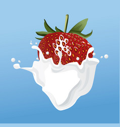 milk and strawberry flyer vector image