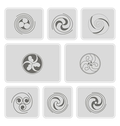 Monochrome icons with celtic geometric ornament vector
