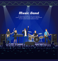 music band on stage and many spectators underneath vector image vector image