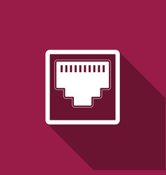Network port - cable socket icon with long shadow vector