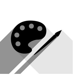 palette and paint brush sign black icon vector image vector image