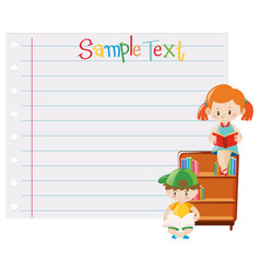 Paper template with kids reading books vector