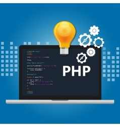 PHP programming language syntax for web coding vector image