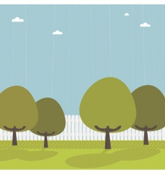 picket fence with trees vector image vector image