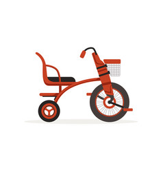 red tricycle for children kids bicycle vector image