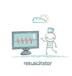 resuscitation is a monitor shows the heartbeat vector image vector image