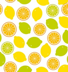 Seamless pattern with lemon lime orange on the vector image vector image