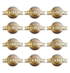 Set of 100 guarantee golden labels vector image vector image