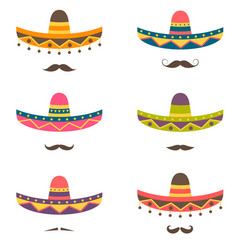 set of mexican hats and mustaches vector image vector image