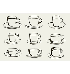 Set of stylised coffee cups vector