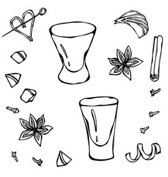 shot glass sketch hand drawn vector image