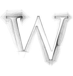 Sketch font Letter W vector image