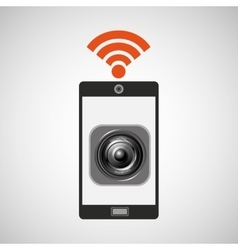 smartphone music internet wifi icon vector image