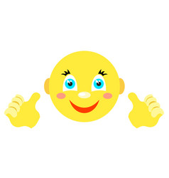Smiley with finger gesture with both hands vector