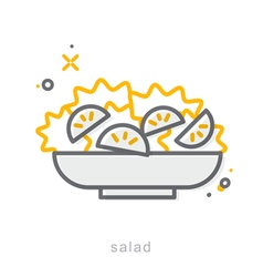 Thin line icons salad vector