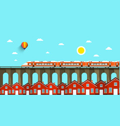 train on bridge abstract landscape city with vector image vector image
