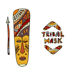 tribal mask ethnic sketch for your design vector image vector image