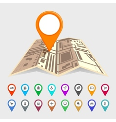 Urban map with a set of pointer icons vector