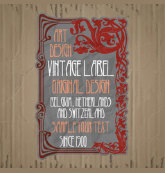 Vintage items - label art nouveau vector
