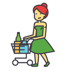 Woman shopping in supermarket with grocery cart vector