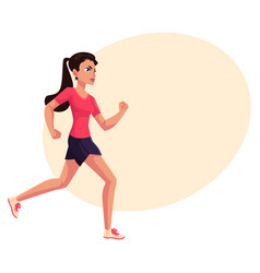 Young and pretty female runner sprinter jogger vector