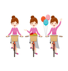 young woman riding bicycle set vector image vector image