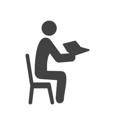 Sitting man reading vector