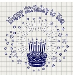 Ball pen sketch birthday cake vector