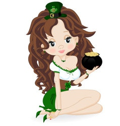 Girl with a pot of coins vector