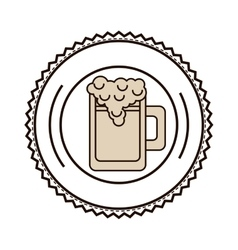 silhouette with foamy beer glass on dish vector image
