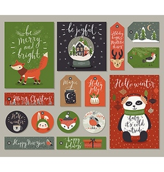 Christmas cards and tags set hand drawn style vector