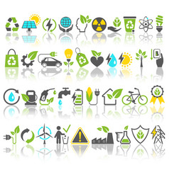 Eco friendly bio green energy sources icons signs vector