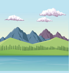 colorful background with daytime mountain valley vector image