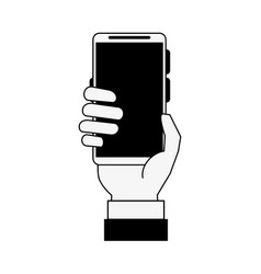 Hand holding smartphone with blank screen icon vector