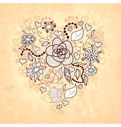 Floral doodle heart of flowers leaves vector