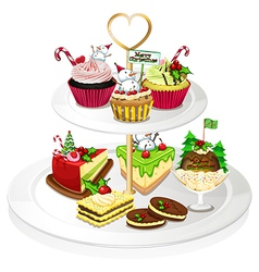 A tray with cupcakes vector image